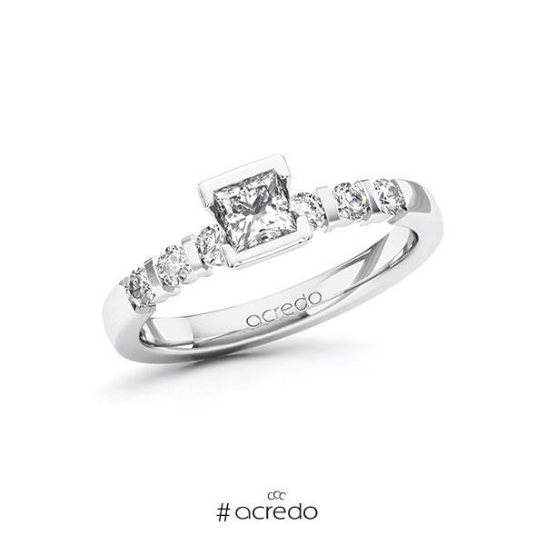 Verlobungsring in Weißgold 585 mit 0,4 ct. + zus. 0,3 ct. Prinzess-Diamant tw, vs tw, si von acredo