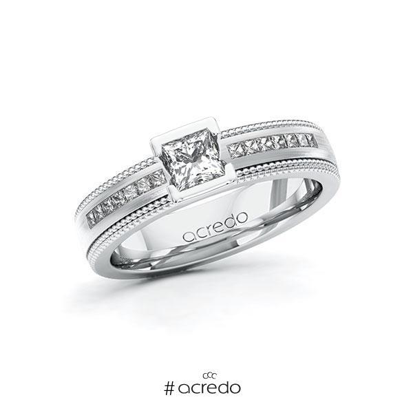 Verlobungsring in Weißgold 585 mit 0,4 ct. + zus. 0,42 ct. Prinzess-Diamant tw, vs tw, si von acredo