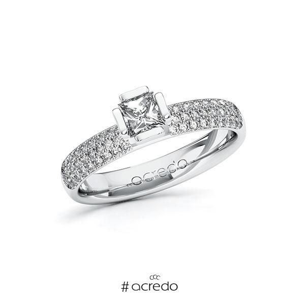Verlobungsring in Weißgold 585 mit 0,4 ct. + zus. 0,432 ct. Prinzess-Diamant tw, vs tw, si von acredo