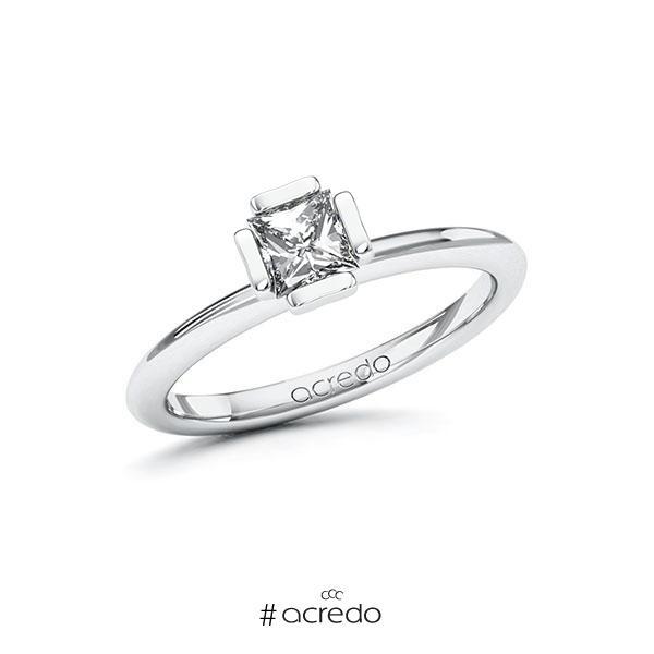Verlobungsring in Weißgold 585 mit 0,5 ct. Prinzess-Diamant tw, vs von acredo