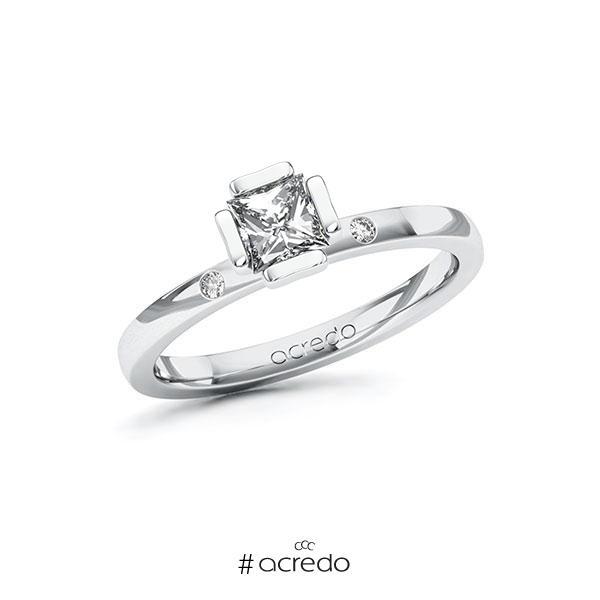 Verlobungsring in Weißgold 585 mit 0,5 ct. + zus. 0,02 ct. Prinzess-Diamant tw, vs tw, si von acredo