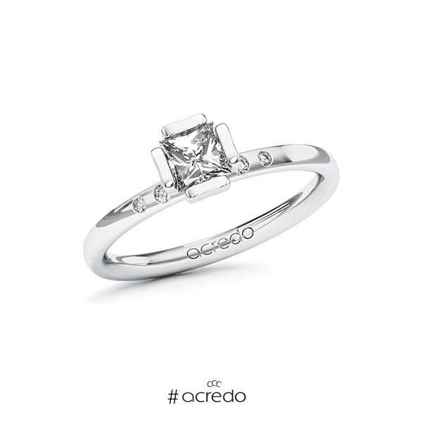 Verlobungsring in Weißgold 585 mit 0,5 ct. + zus. 0,03 ct. Prinzess-Diamant tw, vs tw, si von acredo