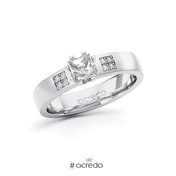 Verlobungsring in Weißgold 585 mit 0,5 ct. + zus. 0,064 ct. Prinzess-Diamant tw, vs tw, si von acredo