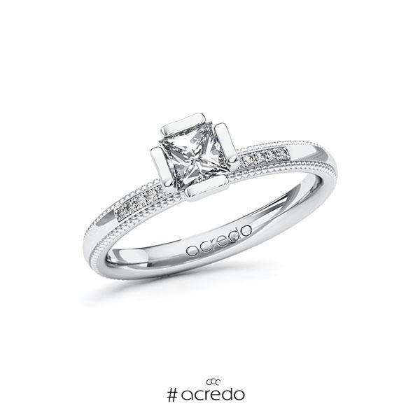 Verlobungsring in Weißgold 585 mit 0,5 ct. + zus. 0,06 ct. Prinzess-Diamant tw, vs tw, si von acredo