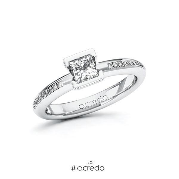 Verlobungsring in Weißgold 585 mit 0,5 ct. + zus. 0,09 ct. Prinzess-Diamant tw, vs tw, si von acredo