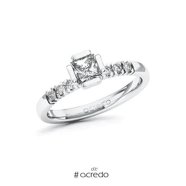Verlobungsring in Weißgold 585 mit 0,5 ct. + zus. 0,12 ct. Prinzess-Diamant tw, vs tw, si von acredo