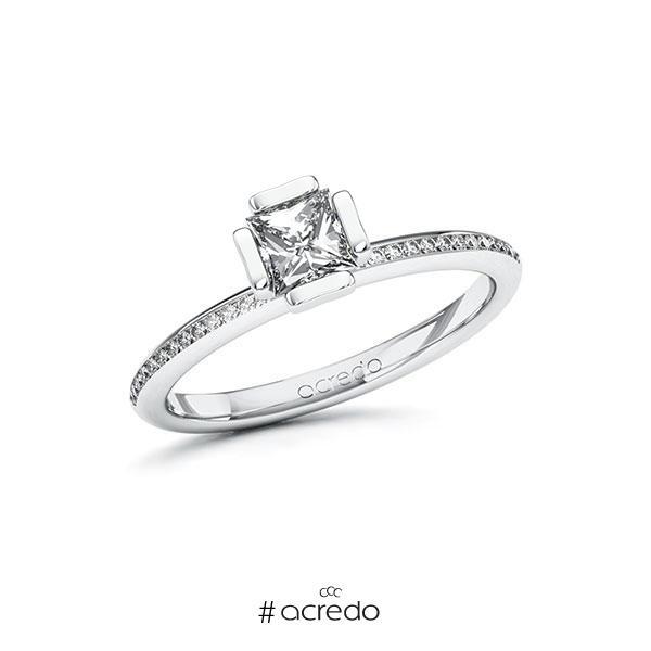 Verlobungsring in Weißgold 585 mit 0,5 ct. + zus. 0,13 ct. Prinzess-Diamant tw, vs tw, si von acredo