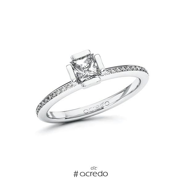 Verlobungsring in Weißgold 585 mit 0,5 ct. + zus. 0,15 ct. Prinzess-Diamant tw, vs tw, si von acredo