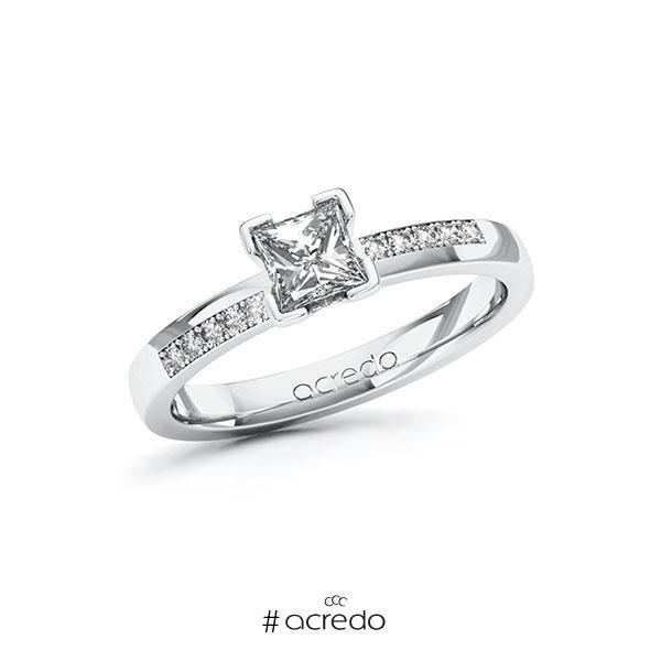 Verlobungsring in Weißgold 585 mit 0,5 ct. + zus. 0,1 ct. Prinzess-Diamant tw, vs tw, si von acredo