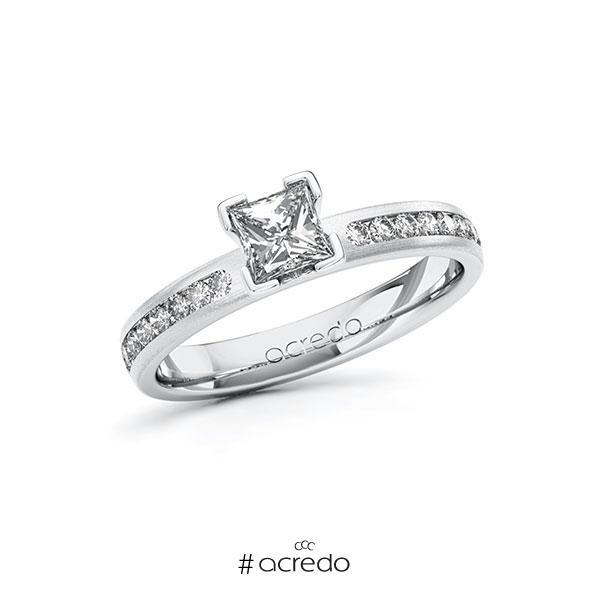 Verlobungsring in Weißgold 585 mit 0,5 ct. + zus. 0,24 ct. Prinzess-Diamant tw, vs tw, si von acredo