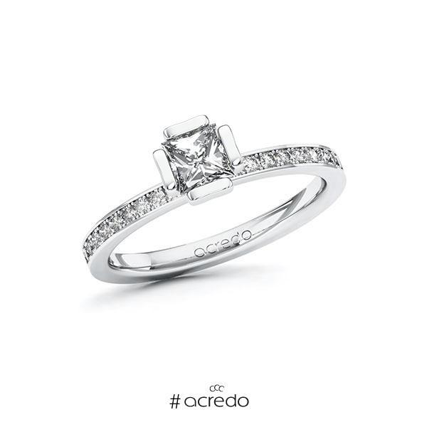 Verlobungsring in Weißgold 585 mit 0,5 ct. + zus. 0,2 ct. Prinzess-Diamant tw, vs tw, si von acredo