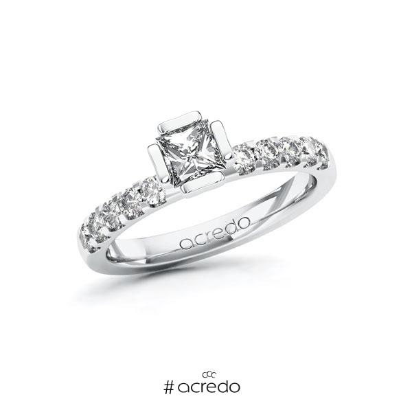 Verlobungsring in Weißgold 585 mit 0,5 ct. + zus. 0,3 ct. Prinzess-Diamant tw, vs tw, si von acredo