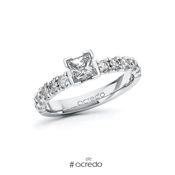 Verlobungsring in Weißgold 585 mit 0,5 ct. + zus. 0,48 ct. Prinzess-Diamant tw, vs tw, si von acredo