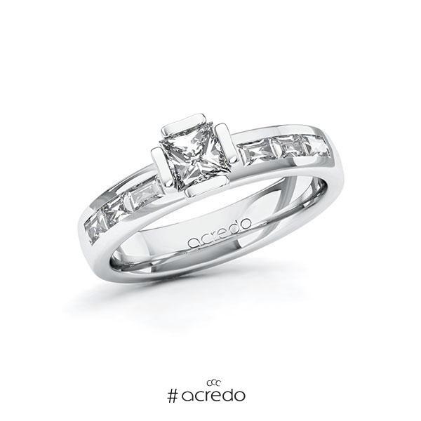 Verlobungsring in Weißgold 585 mit 0,5 ct. + zus. 0,48 ct. Prinzess-Diamant tw, vs von acredo