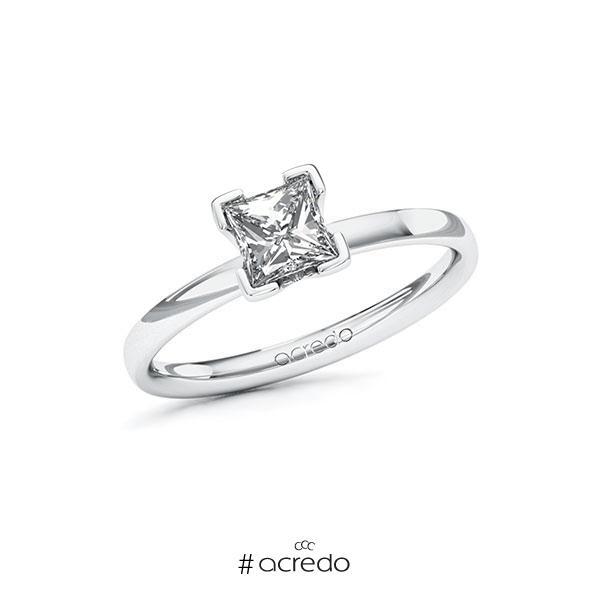 Verlobungsring in Weißgold 585 mit 0,7 ct. Prinzess-Diamant tw, vs von acredo