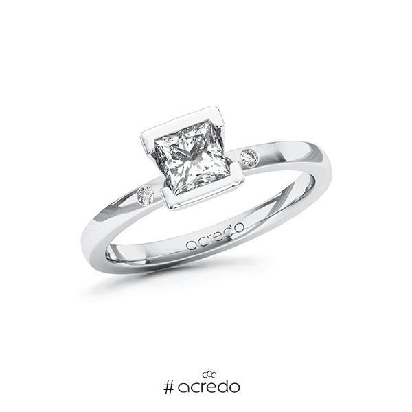 Verlobungsring in Weißgold 585 mit 0,7 ct. + zus. 0,02 ct. Prinzess-Diamant tw, vs tw, si von acredo