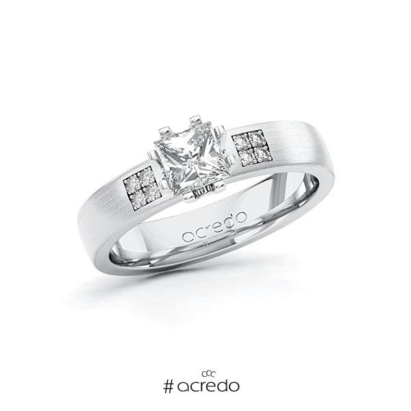 Verlobungsring in Weißgold 585 mit 0,7 ct. + zus. 0,064 ct. Prinzess-Diamant tw, vs tw, si von acredo
