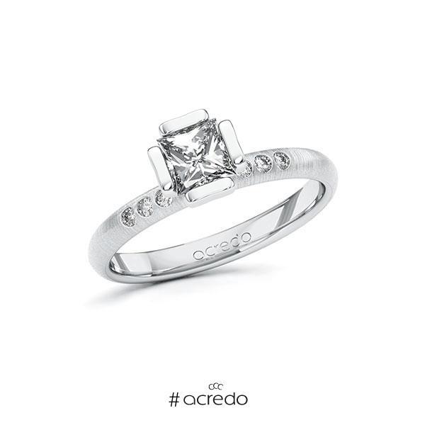 Verlobungsring in Weißgold 585 mit 0,7 ct. + zus. 0,06 ct. Prinzess-Diamant tw, vs tw, si von acredo