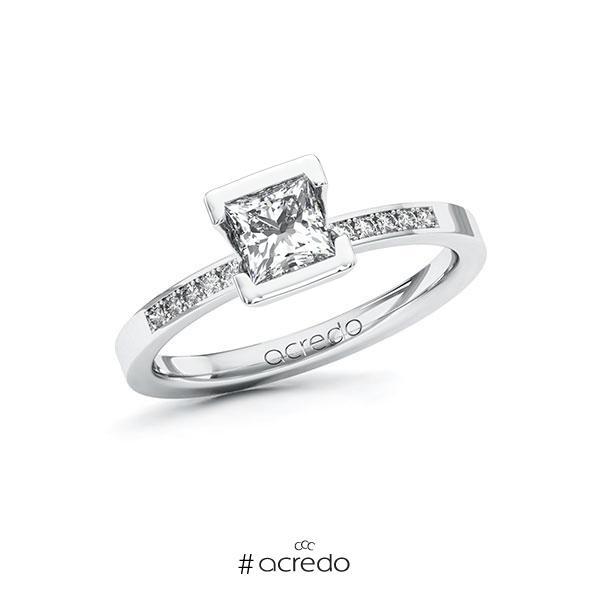Verlobungsring in Weißgold 585 mit 0,7 ct. + zus. 0,08 ct. Prinzess-Diamant tw, vs tw, si von acredo