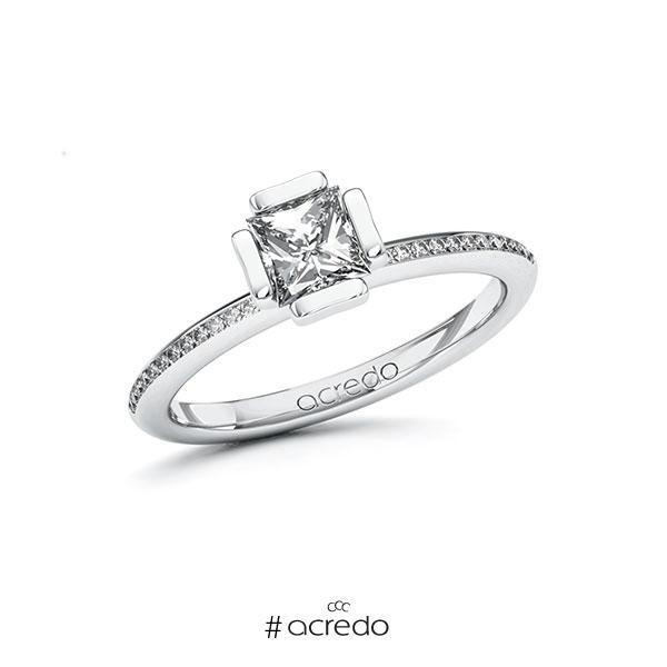 Verlobungsring in Weißgold 585 mit 0,7 ct. + zus. 0,13 ct. Prinzess-Diamant tw, vs tw, si von acredo