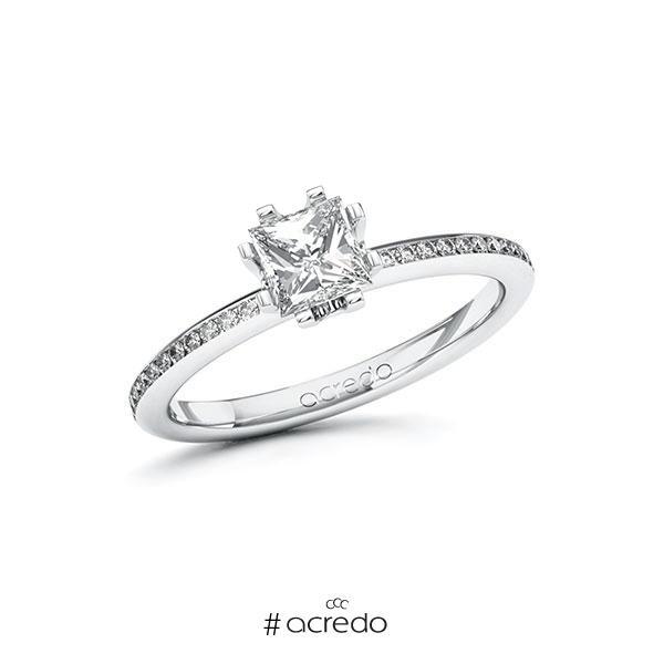 Verlobungsring in Weißgold 585 mit 0,7 ct. + zus. 0,15 ct. Prinzess-Diamant tw, vs tw, si von acredo