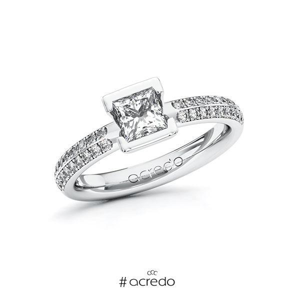 Verlobungsring in Weißgold 585 mit 0,7 ct. + zus. 0,288 ct. Prinzess-Diamant tw, vs tw, si von acredo
