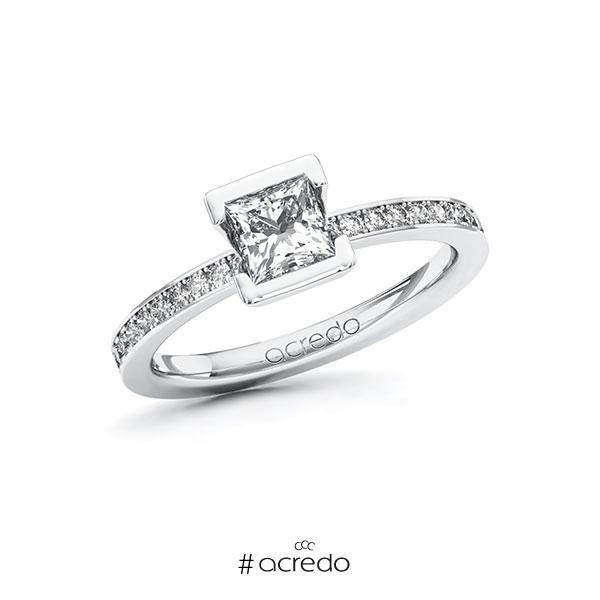 Verlobungsring in Weißgold 585 mit 0,7 ct. + zus. 0,2 ct. Prinzess-Diamant tw, vs tw, si von acredo