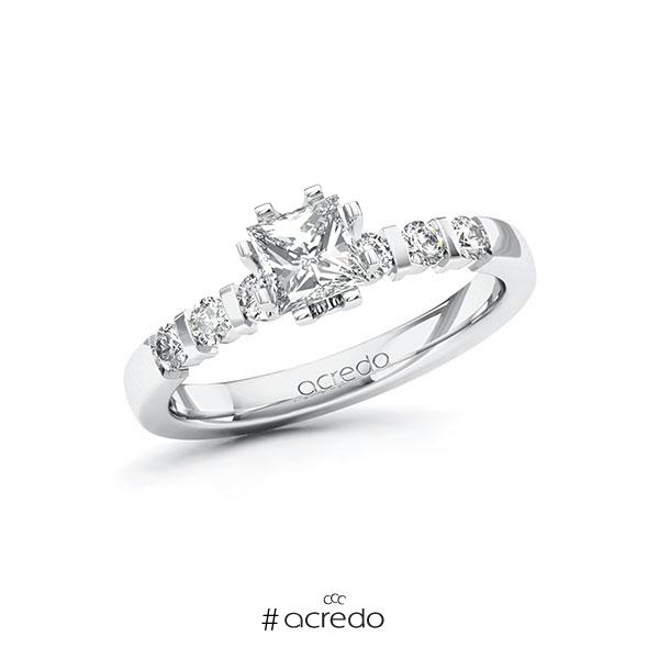 Verlobungsring in Weißgold 585 mit 0,7 ct. + zus. 0,3 ct. Prinzess-Diamant tw, vs tw, si von acredo