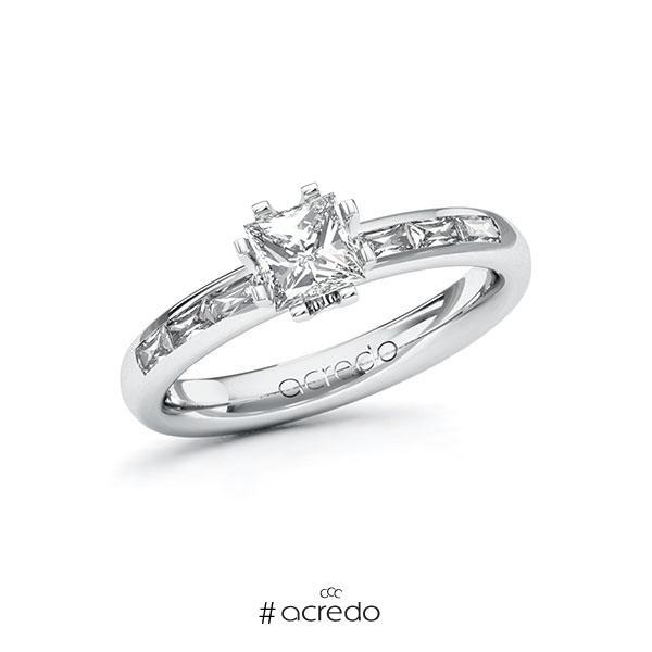 Verlobungsring in Weißgold 585 mit 0,7 ct. + zus. 0,3 ct. Prinzess-Diamant tw, vs von acredo