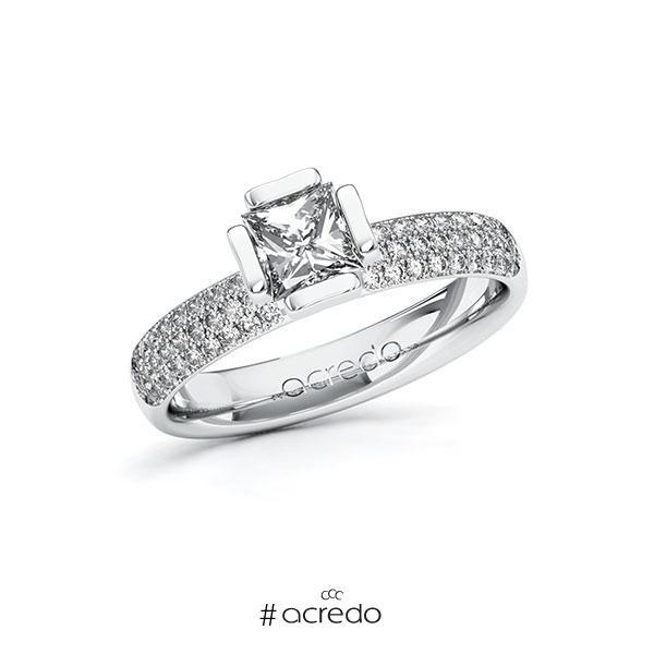 Verlobungsring in Weißgold 585 mit 0,7 ct. + zus. 0,432 ct. Prinzess-Diamant tw, vs tw, si von acredo
