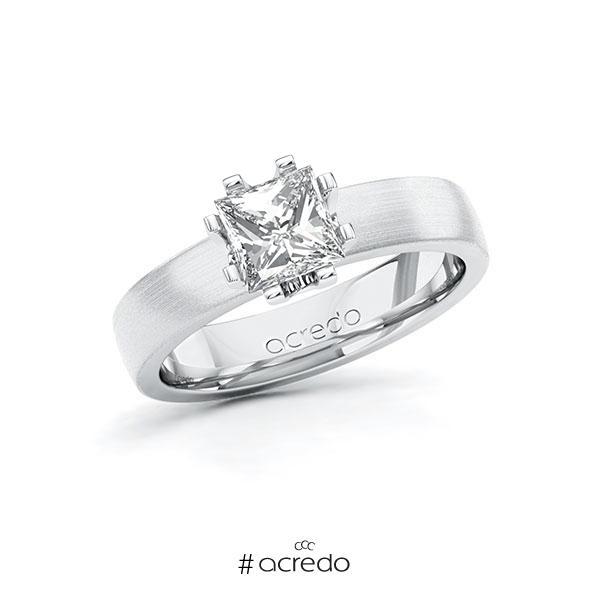 Verlobungsring in Weißgold 585 mit 1 ct. Prinzess-Diamant tw, vs von acredo