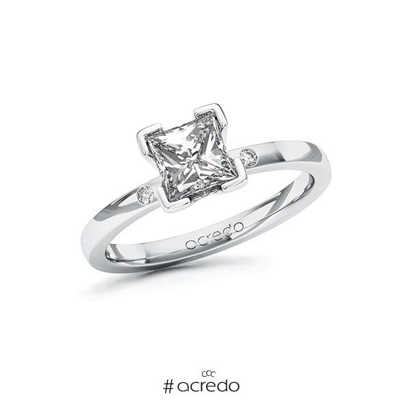 Verlobungsring in Weißgold 585 mit 1 ct. + zus. 0,02 ct. Prinzess-Diamant tw, vs tw, si von acredo