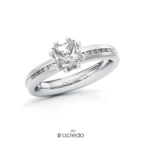 Verlobungsring in Weißgold 585 mit 1 ct. + zus. 0,08 ct. Prinzess-Diamant tw, vs tw, si von acredo