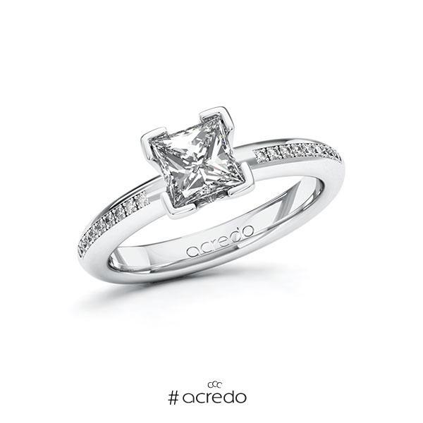 Verlobungsring in Weißgold 585 mit 1 ct. + zus. 0,09 ct. Prinzess-Diamant tw, vs tw, si von acredo