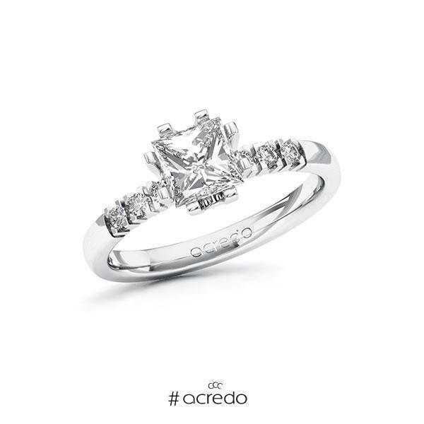 Verlobungsring in Weißgold 585 mit 1 ct. + zus. 0,12 ct. Prinzess-Diamant tw, vs tw, si von acredo
