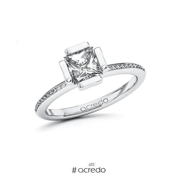 Verlobungsring in Weißgold 585 mit 1 ct. + zus. 0,13 ct. Prinzess-Diamant tw, vs tw, si von acredo