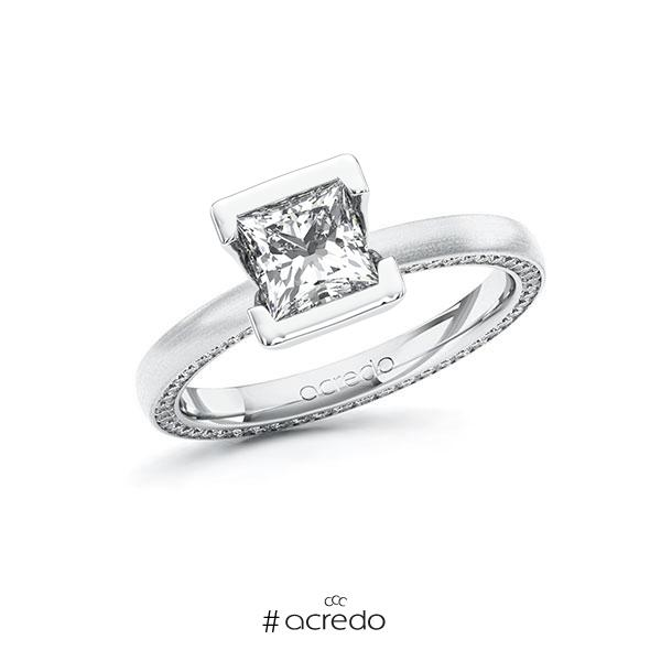 Verlobungsring in Weißgold 585 mit 1 ct. + zus. 0,29 ct. Prinzess-Diamant tw, vs tw, si von acredo