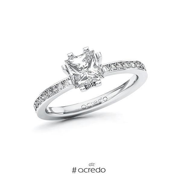 Verlobungsring in Weißgold 585 mit 1 ct. + zus. 0,2 ct. Prinzess-Diamant tw, vs tw, si von acredo
