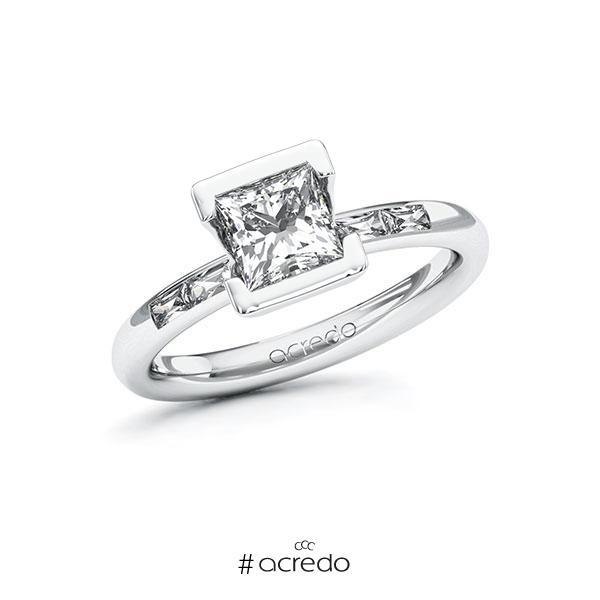 Verlobungsring in Weißgold 585 mit 1 ct. + zus. 0,2 ct. Prinzess-Diamant tw, vs von acredo