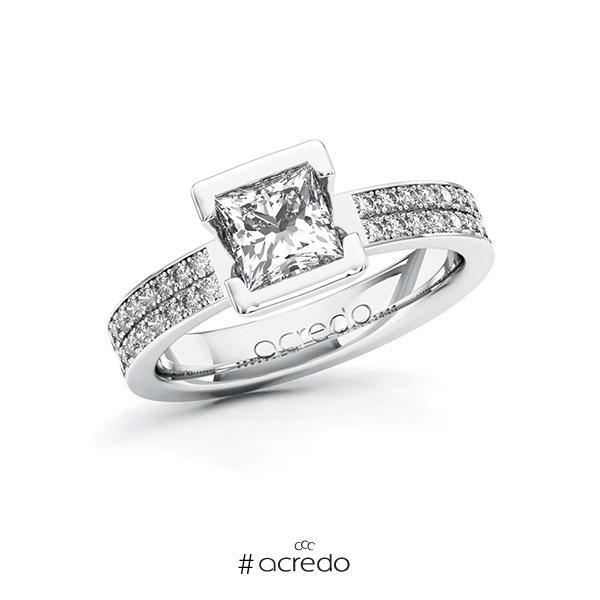 Verlobungsring in Weißgold 585 mit 1 ct. + zus. 0,36 ct. Prinzess-Diamant tw, vs tw, si von acredo