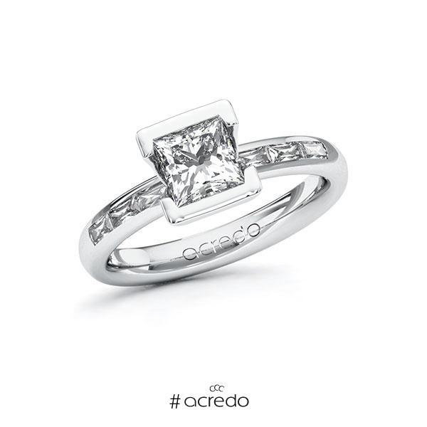 Verlobungsring in Weißgold 585 mit 1 ct. + zus. 0,3 ct. Prinzess-Diamant tw, vs von acredo