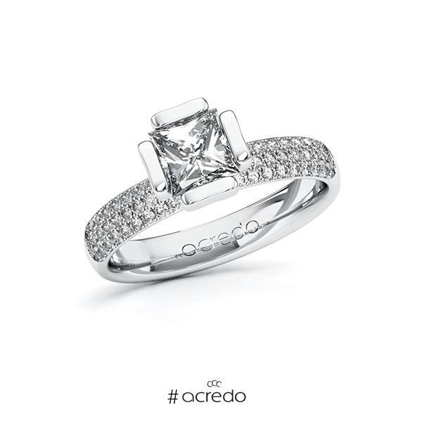 Verlobungsring in Weißgold 585 mit 1 ct. + zus. 0,432 ct. Prinzess-Diamant tw, vs tw, si von acredo