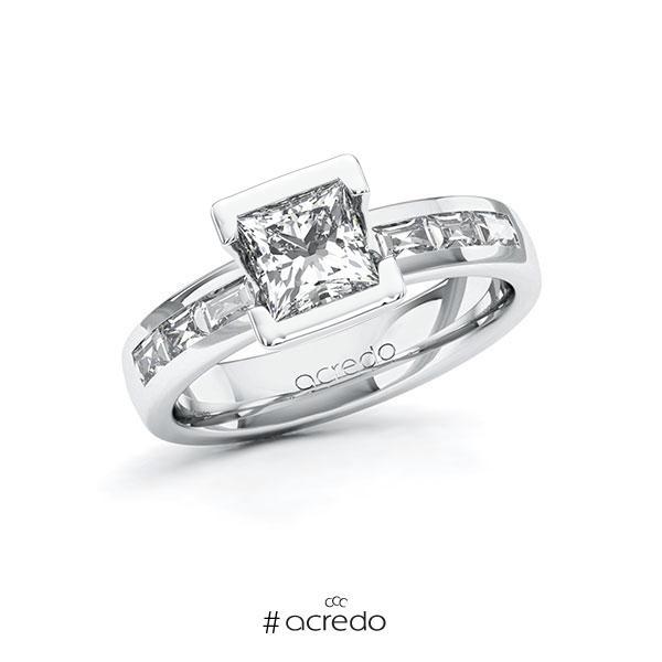 Verlobungsring in Weißgold 585 mit 1 ct. + zus. 0,48 ct. Prinzess-Diamant tw, vs von acredo
