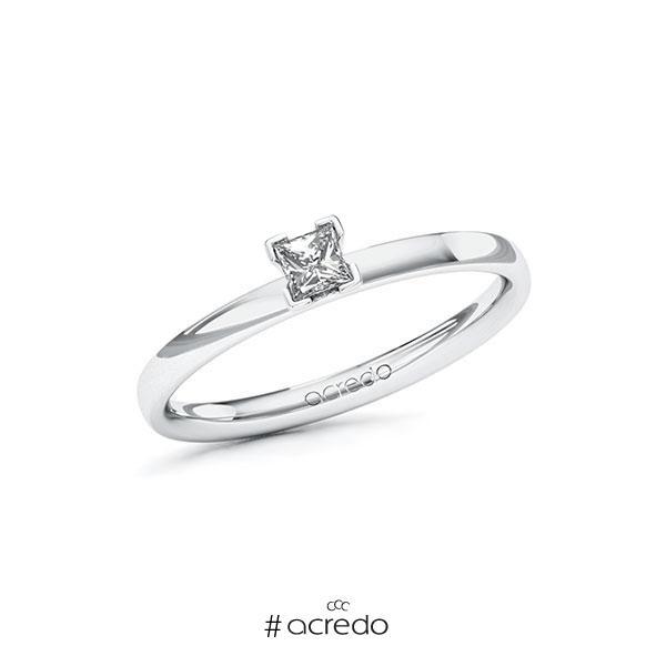 Verlobungsring in Weißgold 585 mit zus. 0,15 ct. Prinzess-Diamant tw, si von acredo