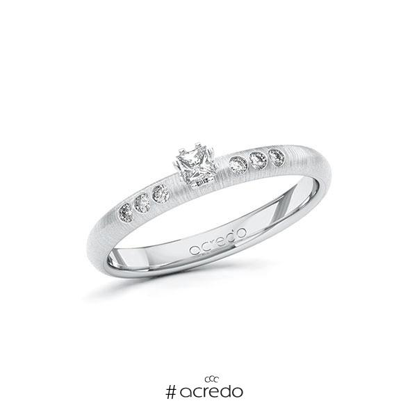 Verlobungsring in Weißgold 585 mit zus. 0,16 ct. Prinzess-Diamant tw, si von acredo