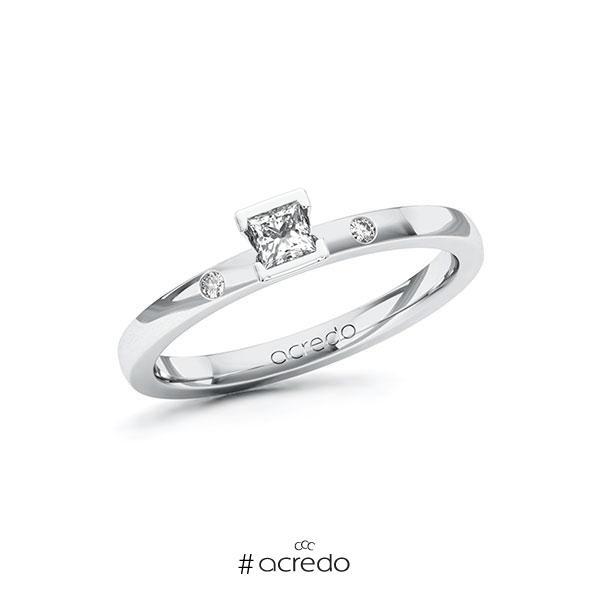 Verlobungsring in Weißgold 585 mit zus. 0,17 ct. Prinzess-Diamant tw, si von acredo