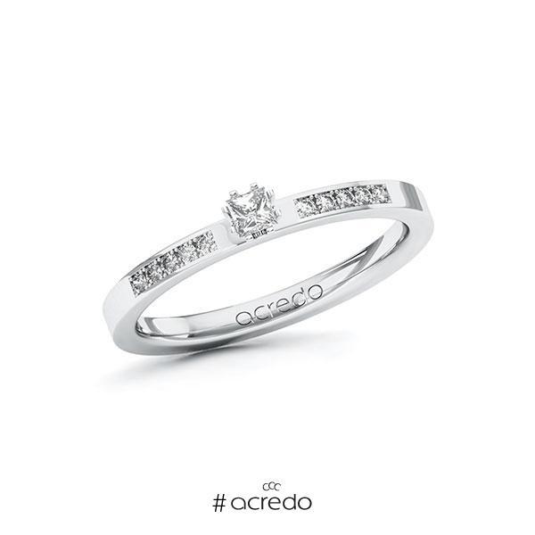Verlobungsring in Weißgold 585 mit zus. 0,18 ct. Prinzess-Diamant tw, si von acredo
