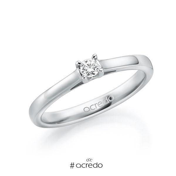 Verlobungsring in Weißgold 585 mit zus. 0,1 ct. Brillant tw, vs von acredo