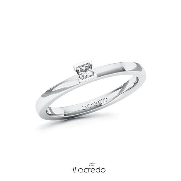 Verlobungsring in Weißgold 585 mit zus. 0,1 ct. Prinzess-Diamant tw, si von acredo