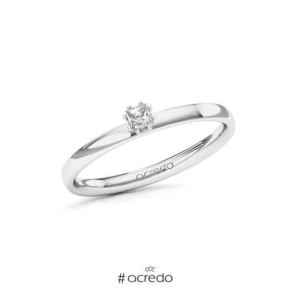 Verlobungsring in Weißgold 585 mit zus. 0,1 ct. Prinzess-Diamant tw, vs von acredo